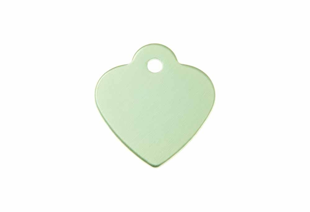 Heart shaped tag with loop anodised aluminium Green 25x26mm