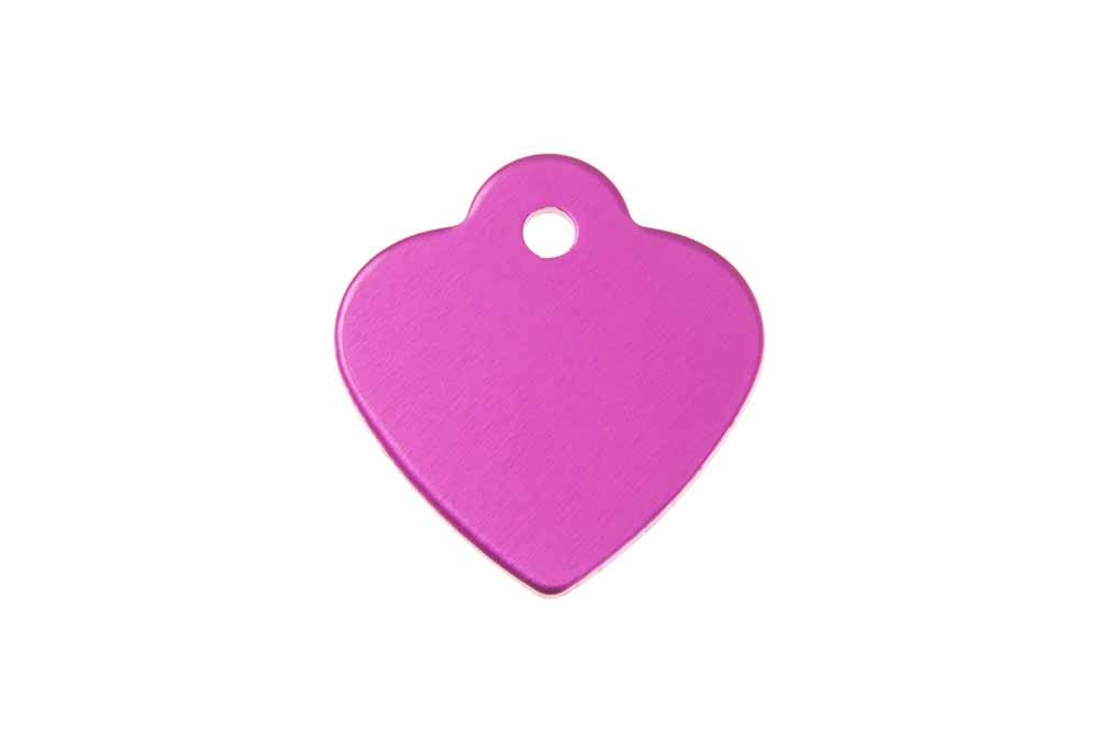 Heart shaped tag with loop anodised aluminium Pink 25x26mm