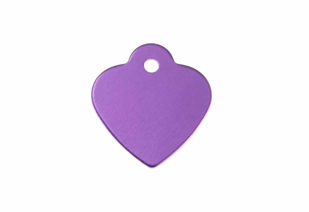 Heart shaped tag with loop anodised aluminium Violet 25x26mm