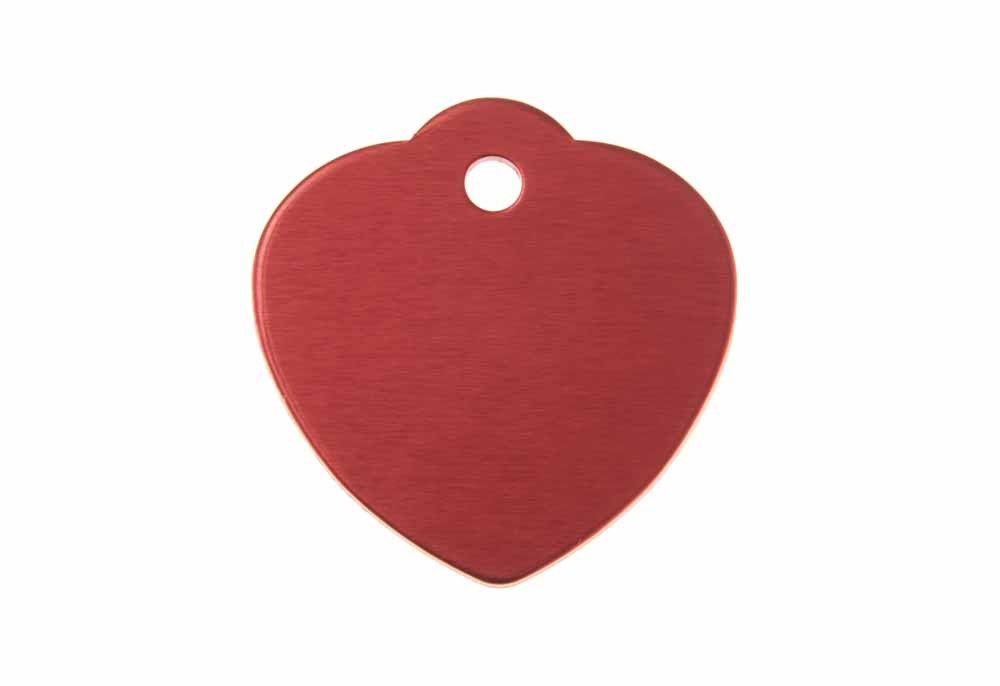 Large heart shaped tag with loop anodised aluminium Red 31x32mm