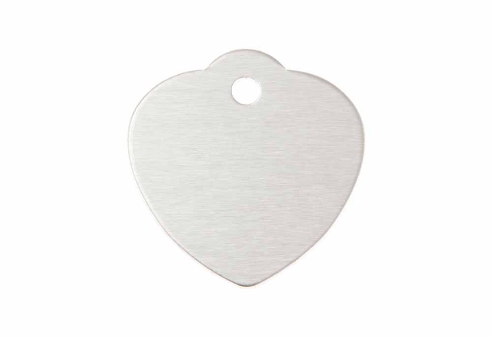 Large heart shaped tag with loop anodised aluminium Silver 31x32mm