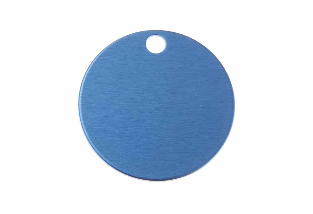 Large round tag anodised aluminium Blue 32mm