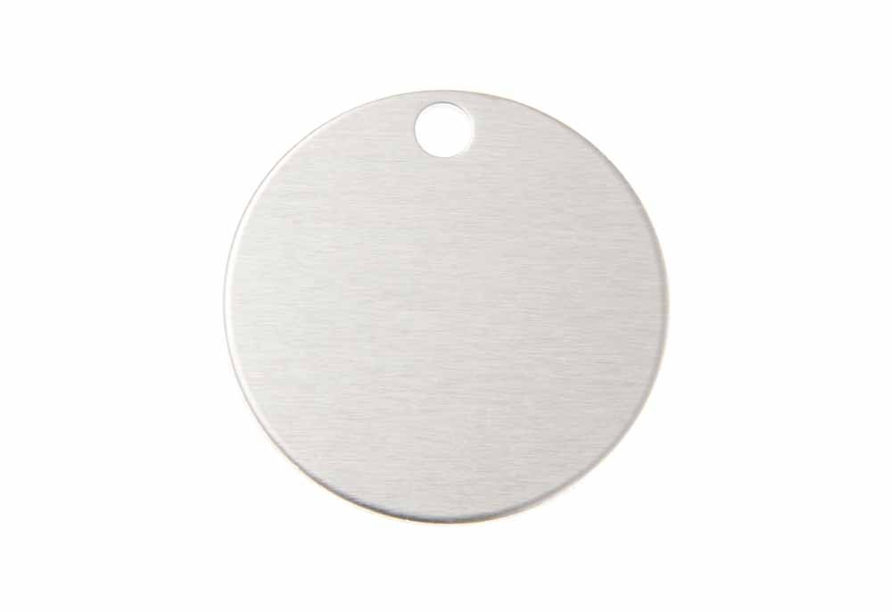 Large round tag anodised aluminium silver 32mm