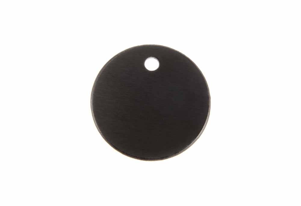 Small round tag anodised aluminium Black 25mm