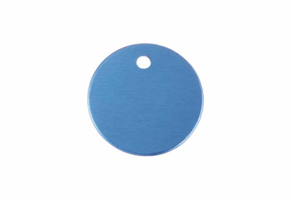 Small round tag anodised aluminium Blue 25mm