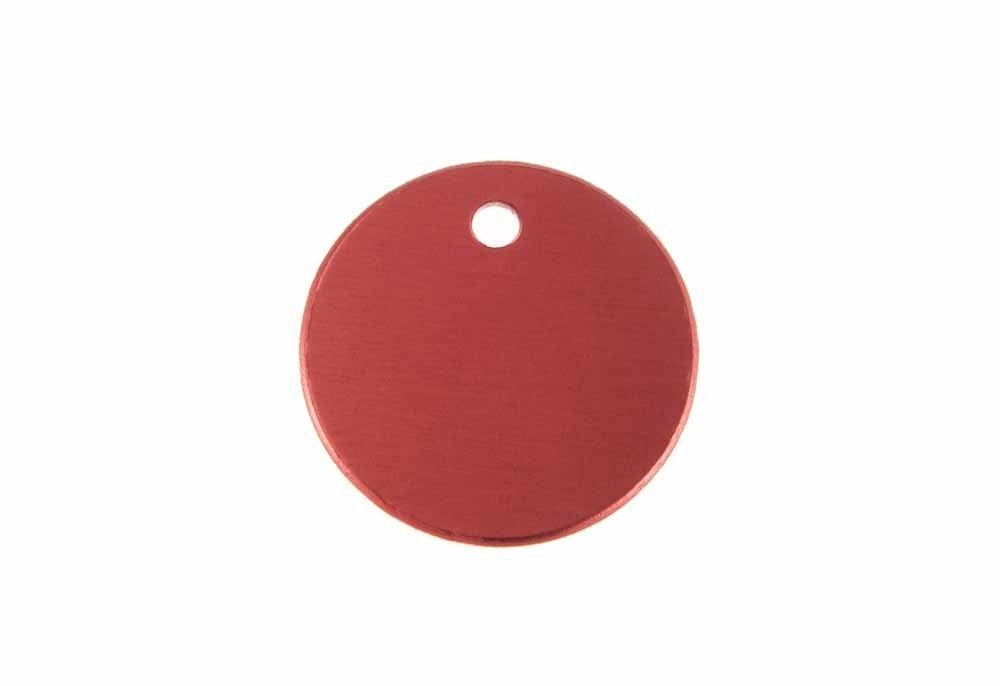 Small round tag anodised aluminium Red 25mm