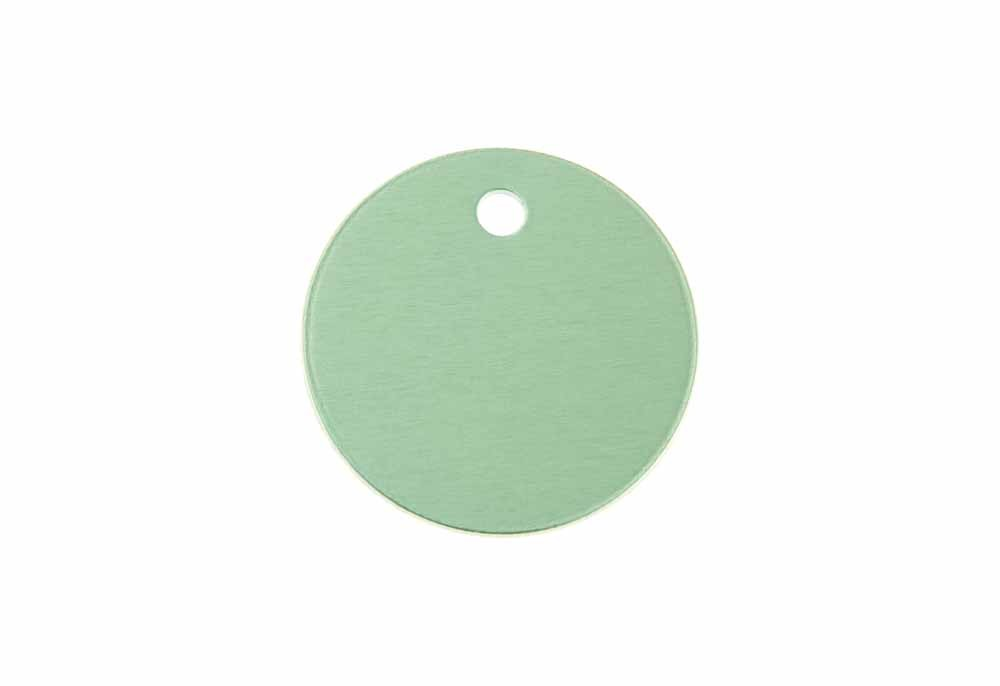 Small round tag anodised aluminium Green 25mm