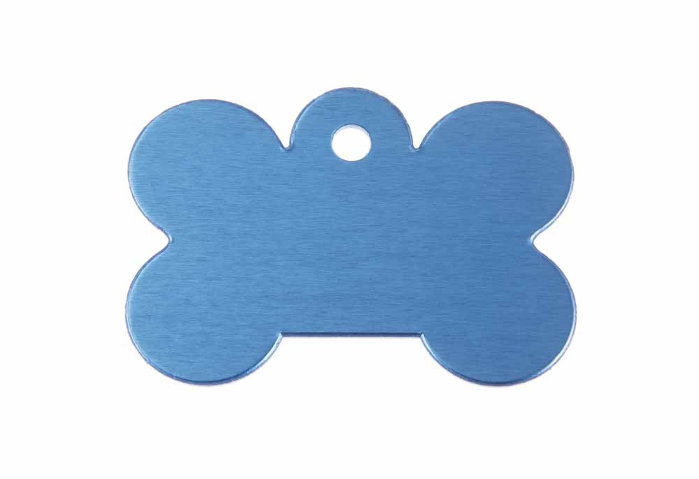 Large dog bone tag anodised aluminium Blue 40x28mm