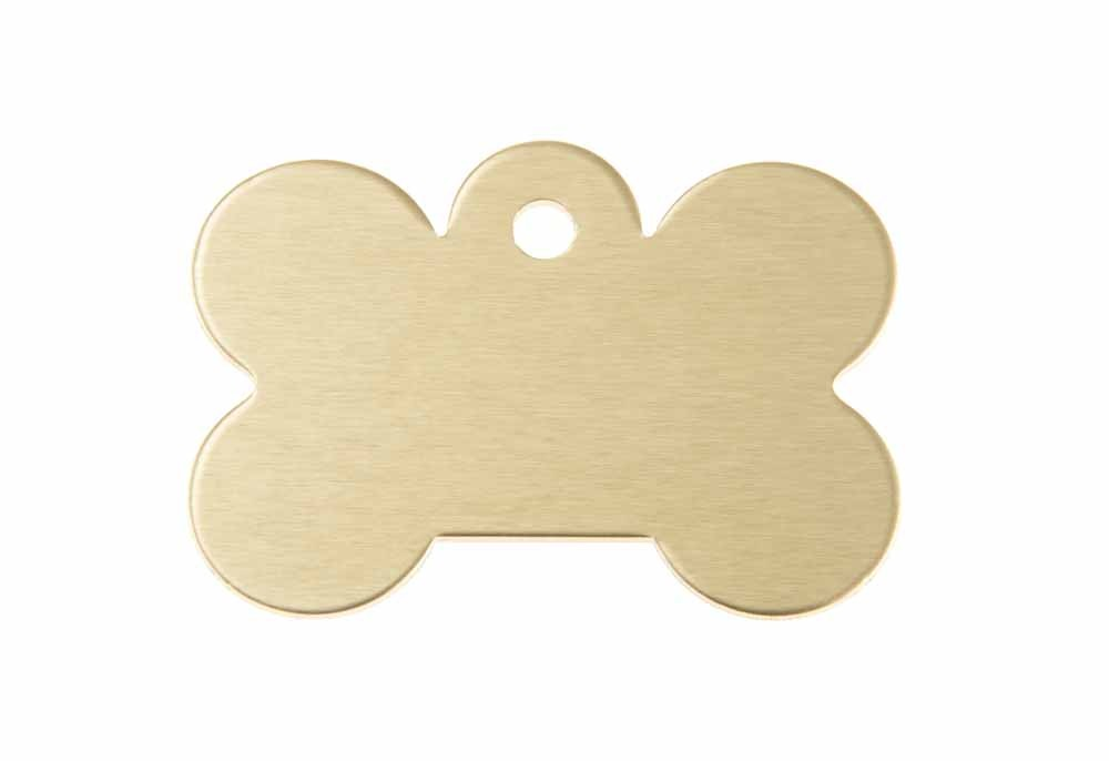 Large dog bone tag anodised aluminium Gold 40x28mm