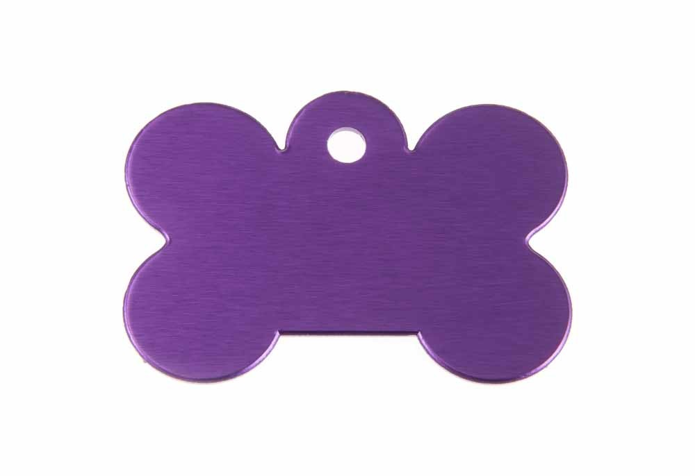Large dog bone tag anodised aluminium Violet 40x28mm