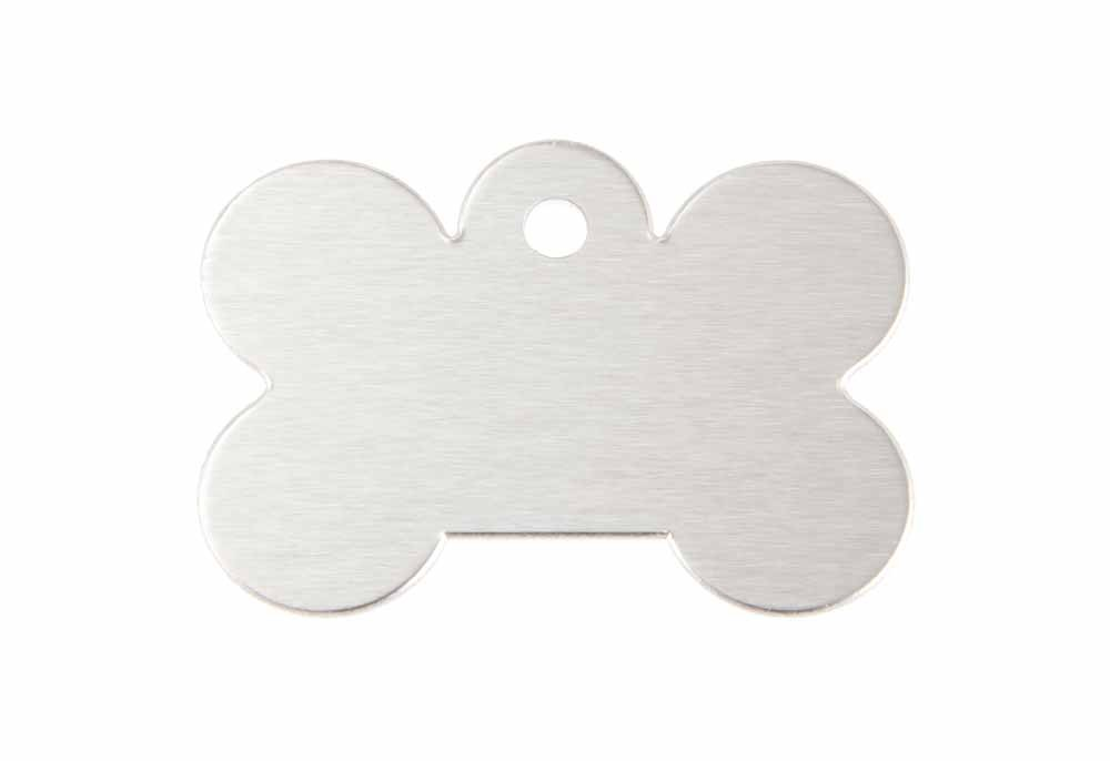 Large dog bone tag anodised aluminium Silver 40x28mm
