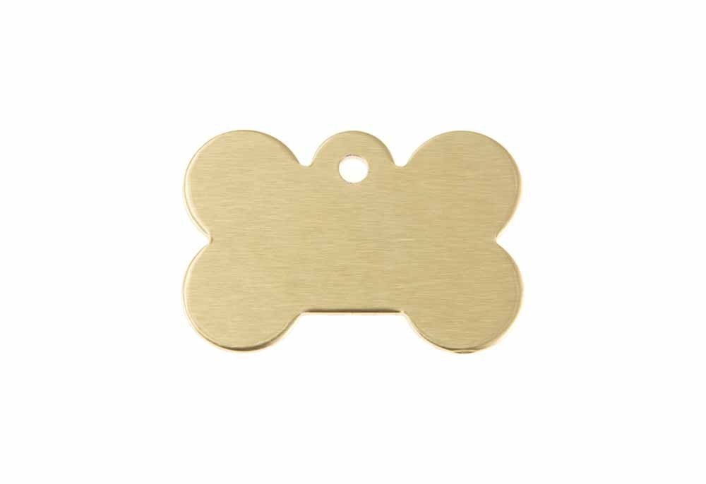 Small dog bone tag anodised aluminium Gold 21x31mm