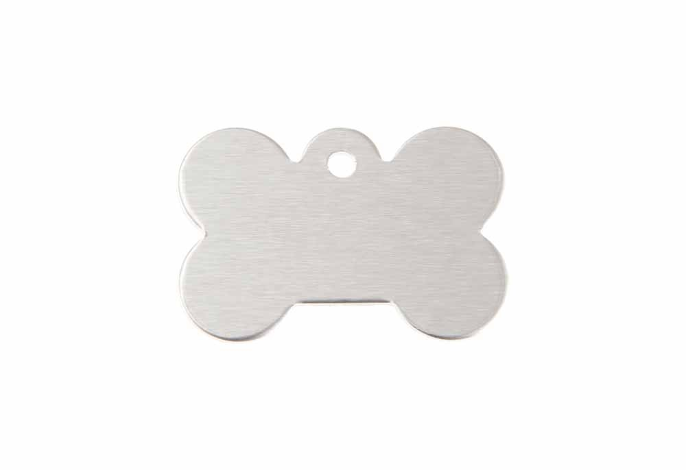 Small dog bone tag anodised aluminium Silver 21x31mm
