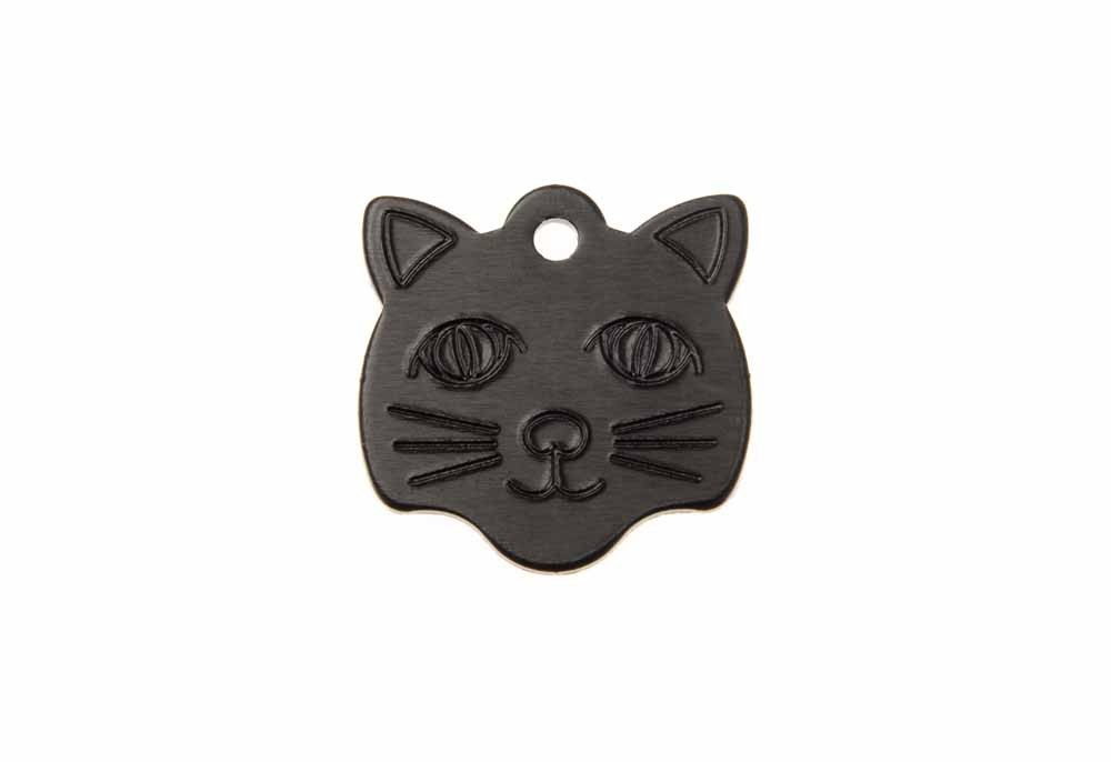 Cat face tag anodised aluminium Black 22x23mm