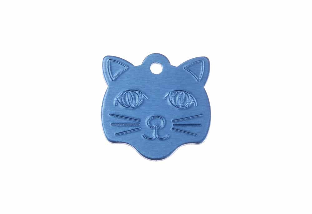 Cat face tag anodised aluminium Blue 22x23mm