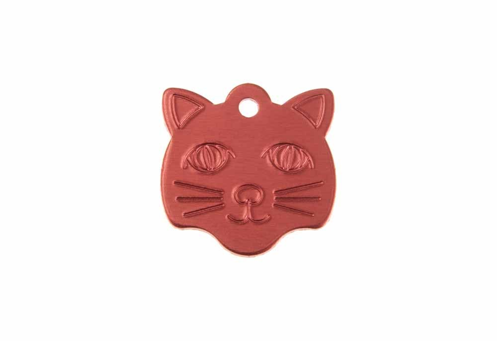 Cat face tag anodised aluminium Red 22x23mm