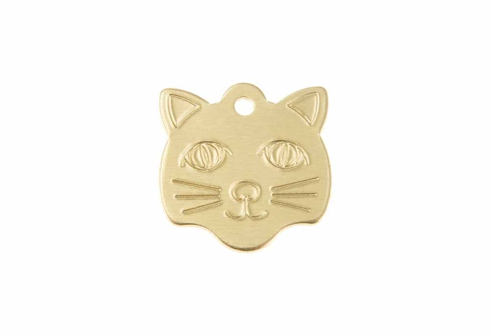 Cat face tag anodised aluminium Gold 22x23mm