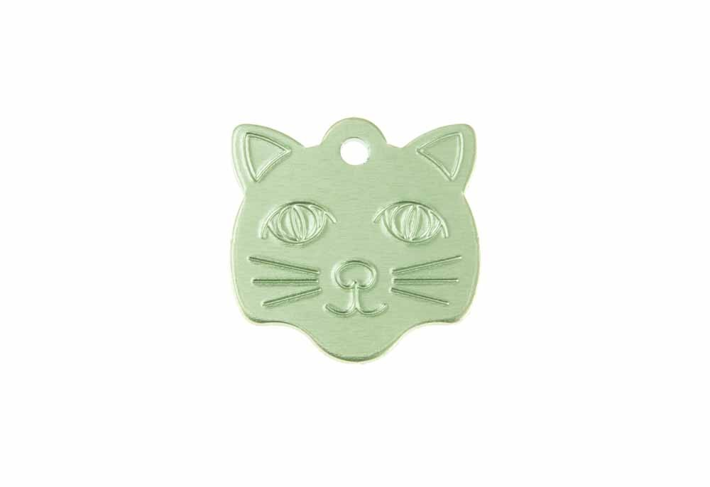 Cat face tag anodised aluminium Green 22x23mm