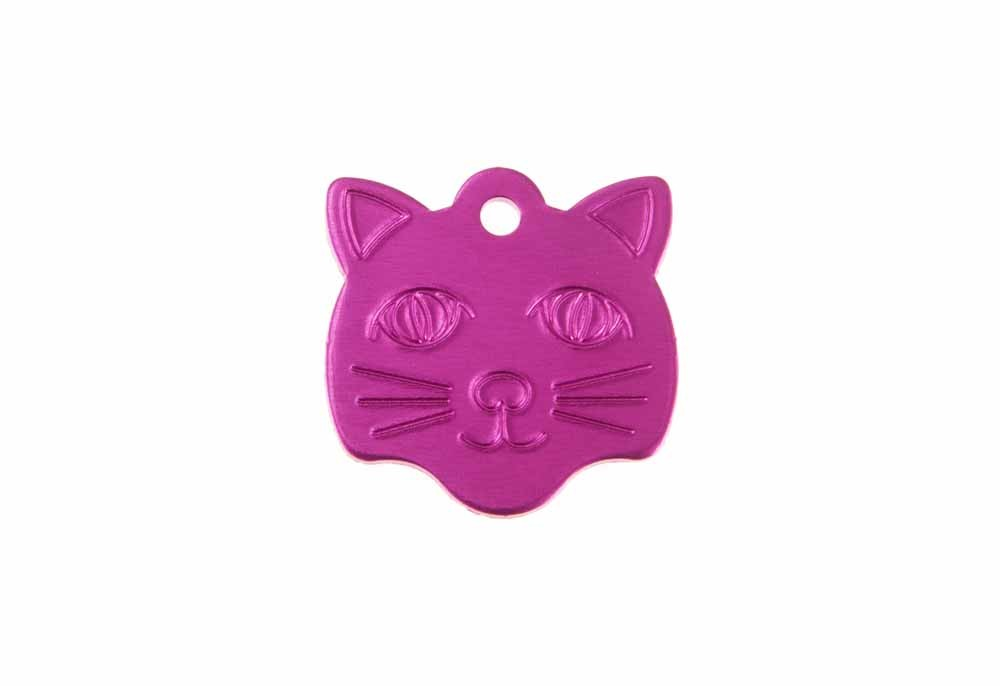 Cat face tag anodised aluminium Pink 22x23mm