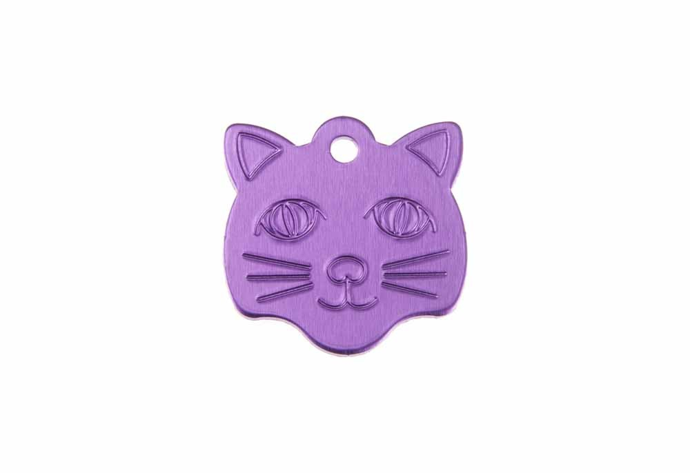 Cat face tag anodised aluminium Violet 22x23mm