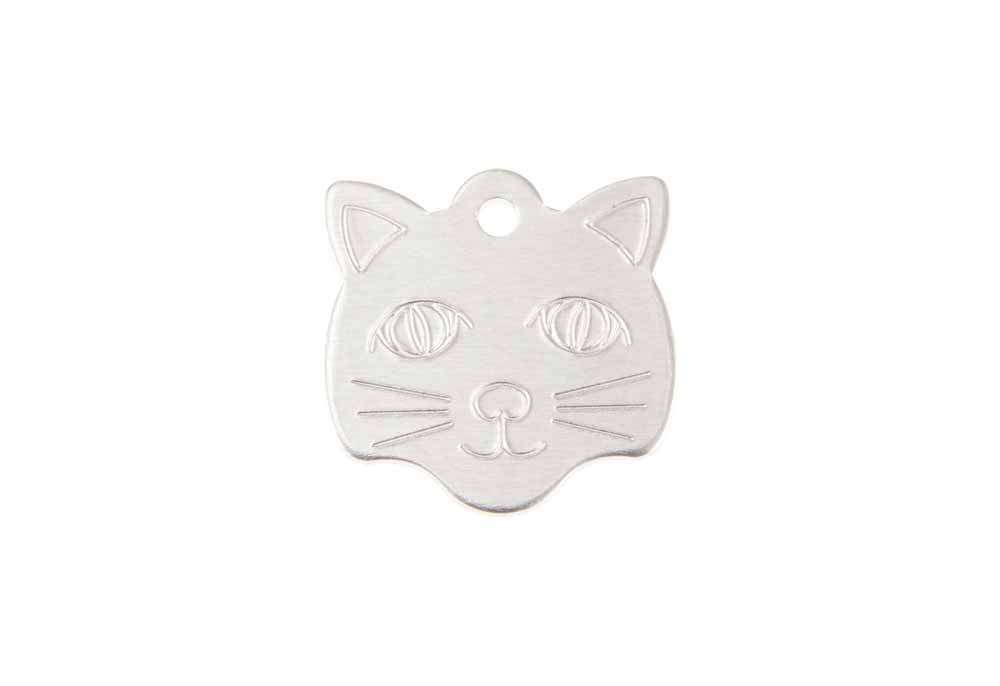 Cat face tag anodised aluminium Silver 22x23mm