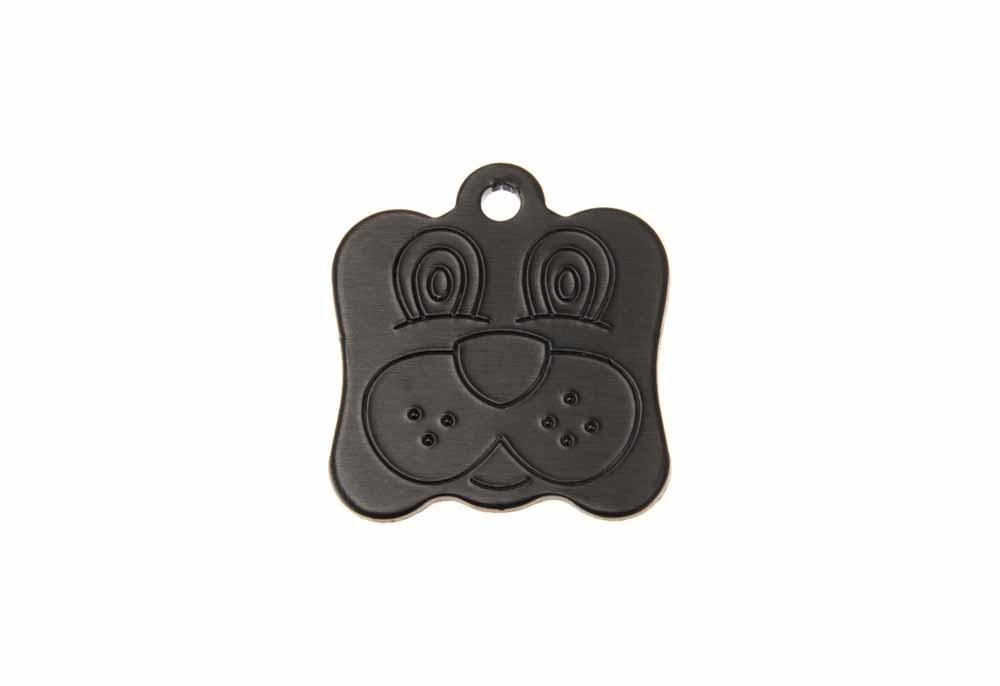 Dog face tag anodised aluminium Black 21x24mm