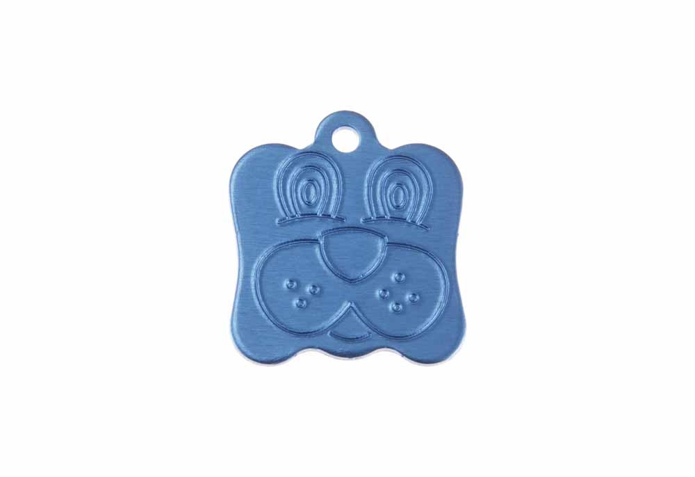 Dog face tag anodised aluminium Blue 21x24mm