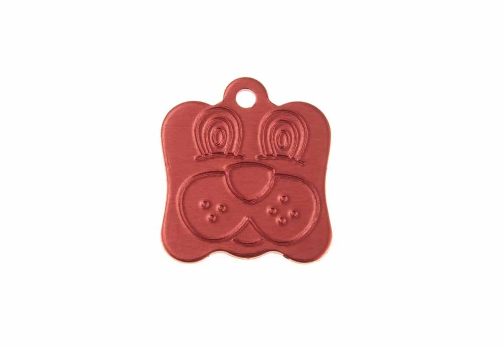 Dog face tag anodised aluminium Red 21x24mm