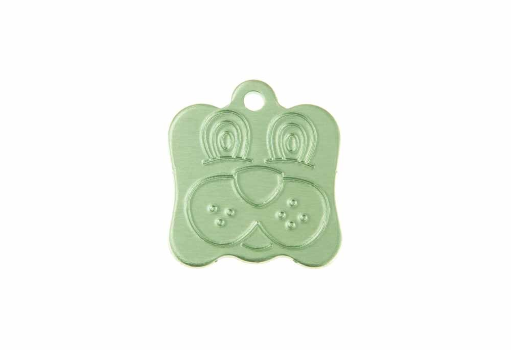 Dog face tag anodised aluminium Green 21x24mm