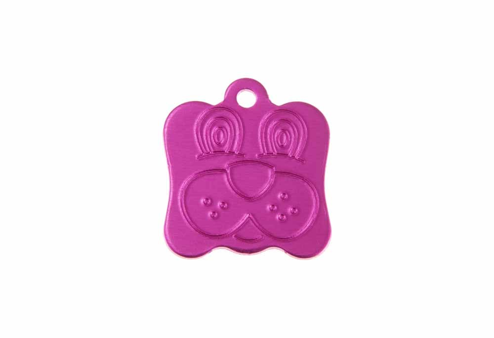 Dog face tag anodised aluminum Pink 21x24mm