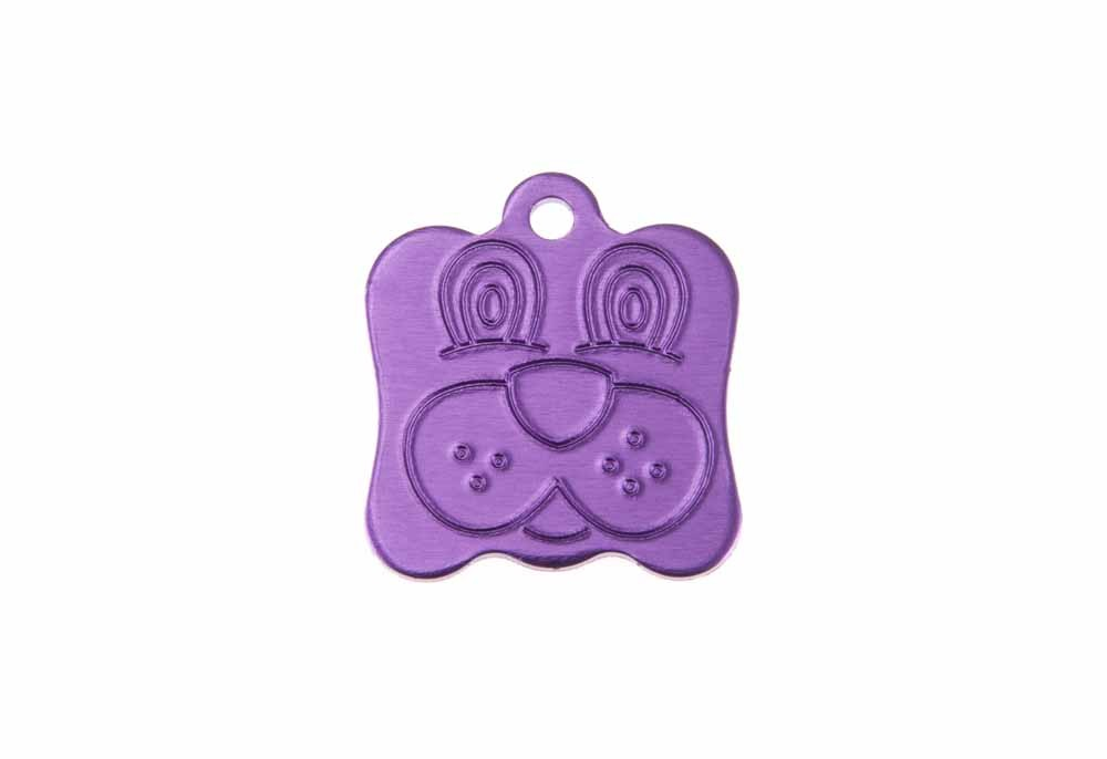 Dog face tag anodised aluminium Violet 21x24mm