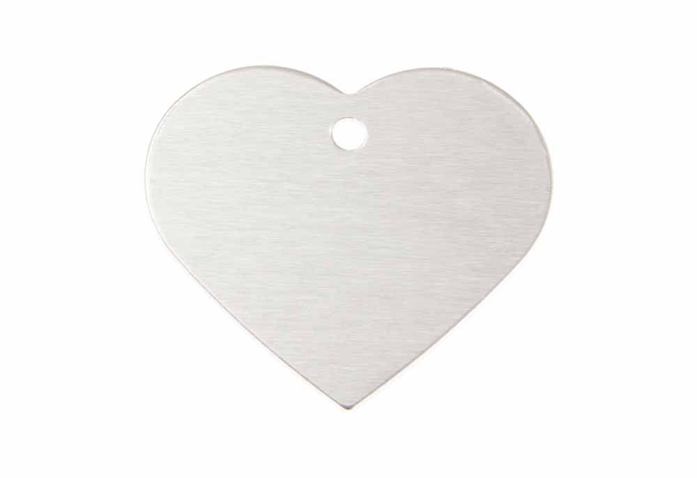 Large heart tag anodised Aluminium Silver 38x32mm