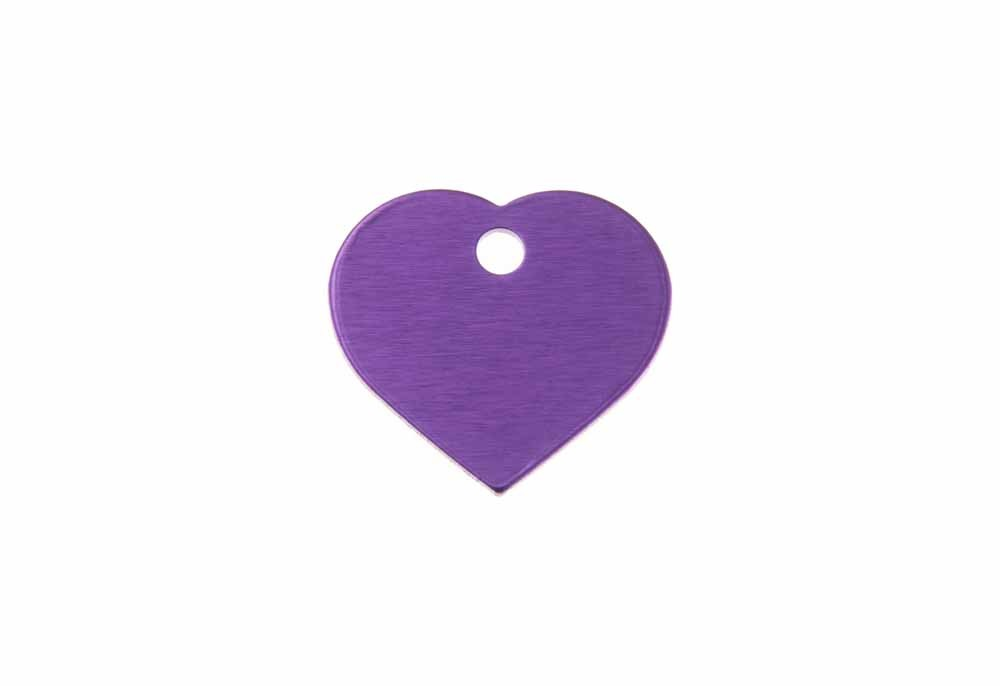 Small heart shaped tag anodised aluminium Violet 20x22mm