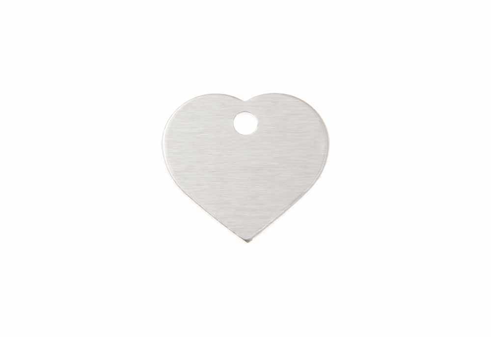 Small heart tag anodised aluminium Silver 20x22mm