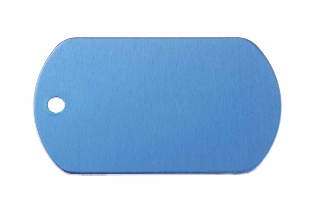 ID tag anodised aluminium Blue 50x29mm