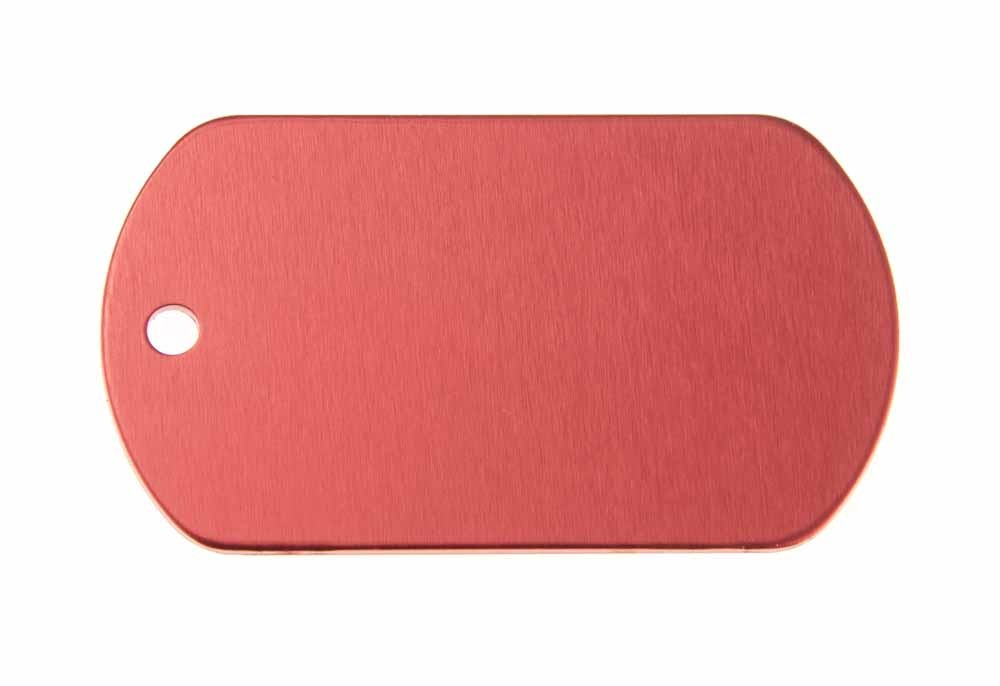 ID tag anodised aluminium Red 50x29mm