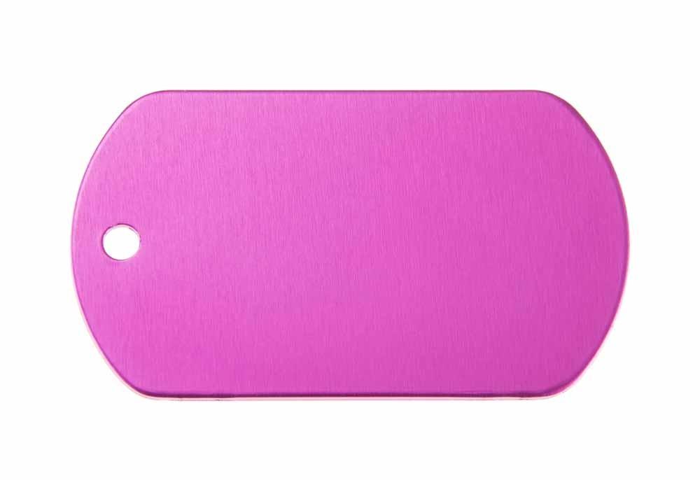 ID tag anodised aluminium Pink 50x29mm
