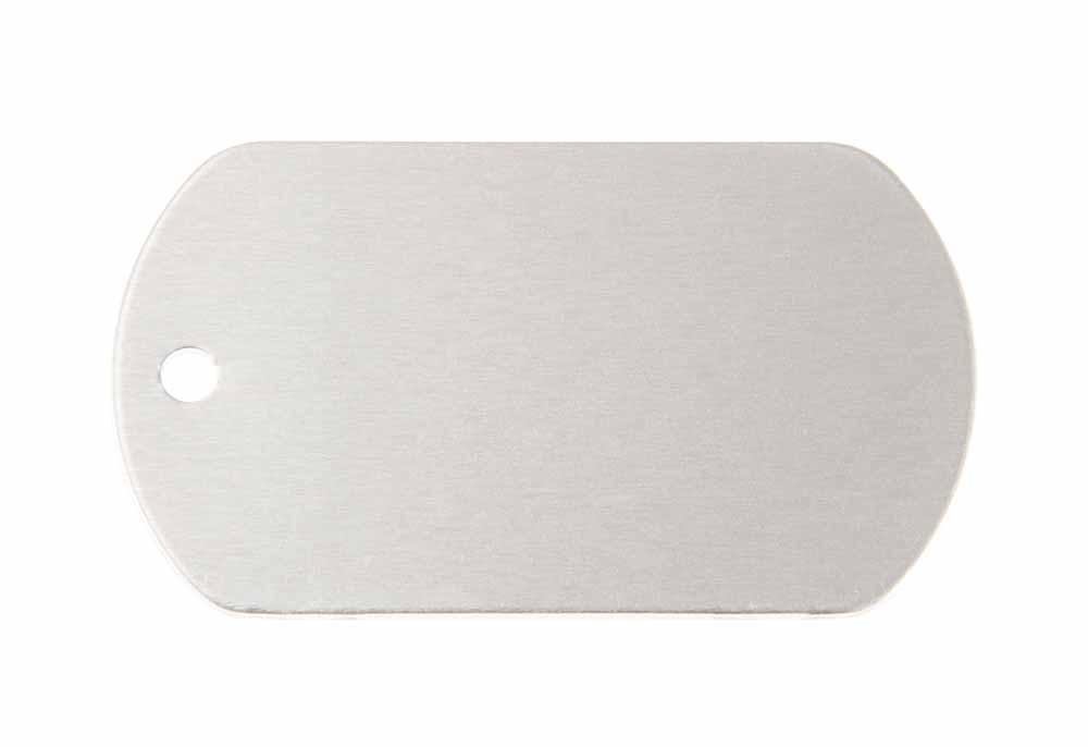 ID tag anodised aluminium Silver 50x29mm