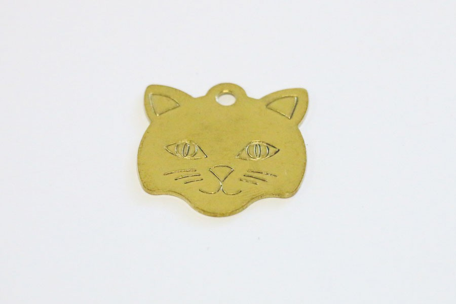 Gold Aluminium Cat Pet Tag
