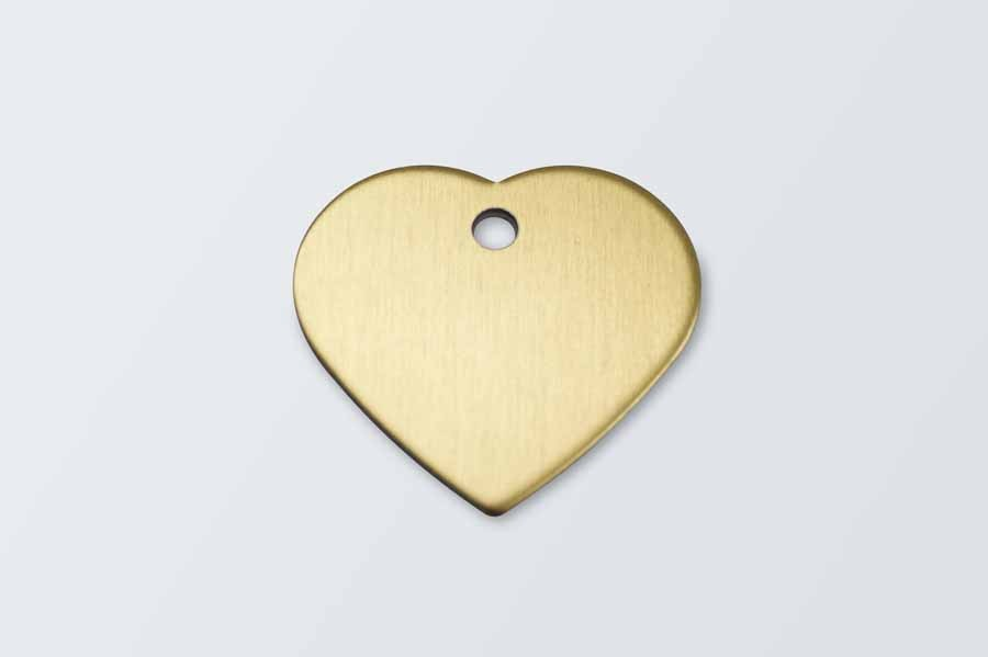 Gold Aluminium Heart Pet Tag