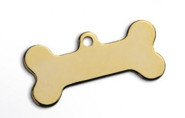 Gilt dog Bone Pet Tag Large