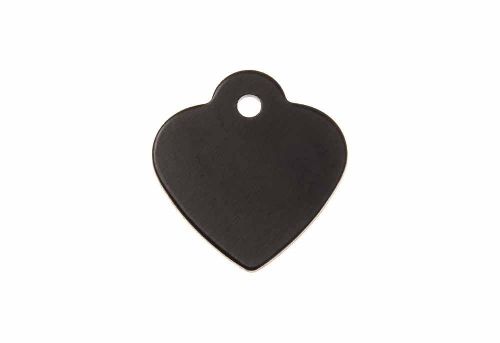 Médaille Cœur avec bélière (petite) Noir 25x26mm