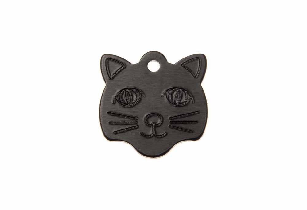 Médaille Tête de chat Noir 21x24mm
