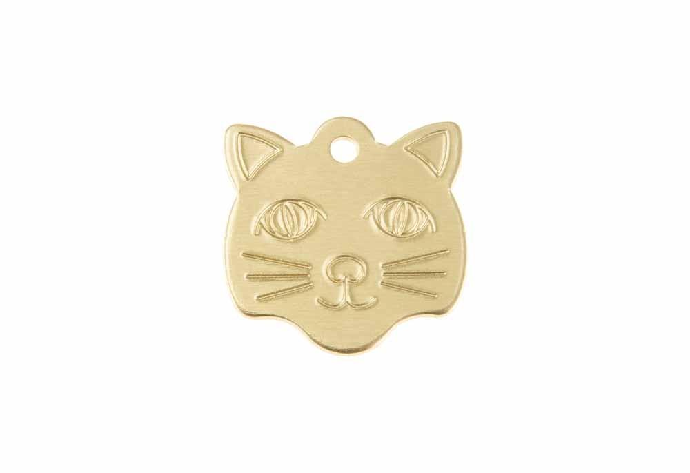 Médaille Tête de chat Or 21x24mm