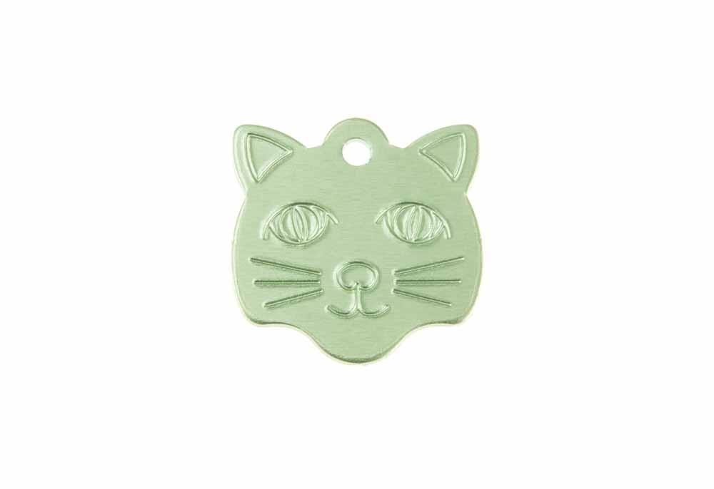 Médaille Tête de chat Vert 21x24mm