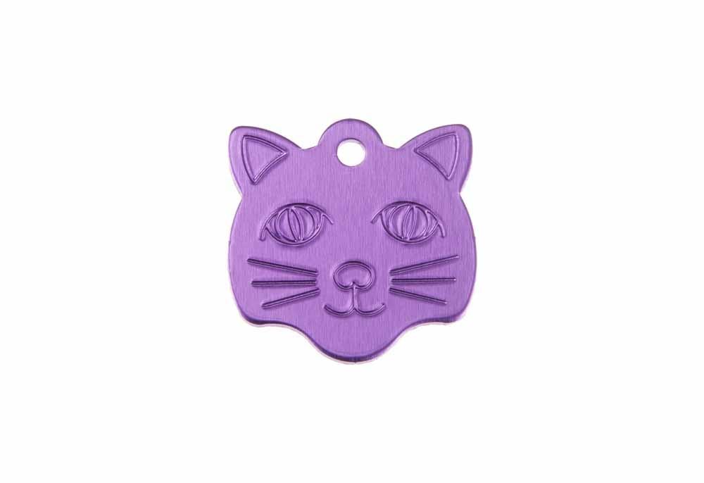 Médaille Tête de chat Violet 21x24mm