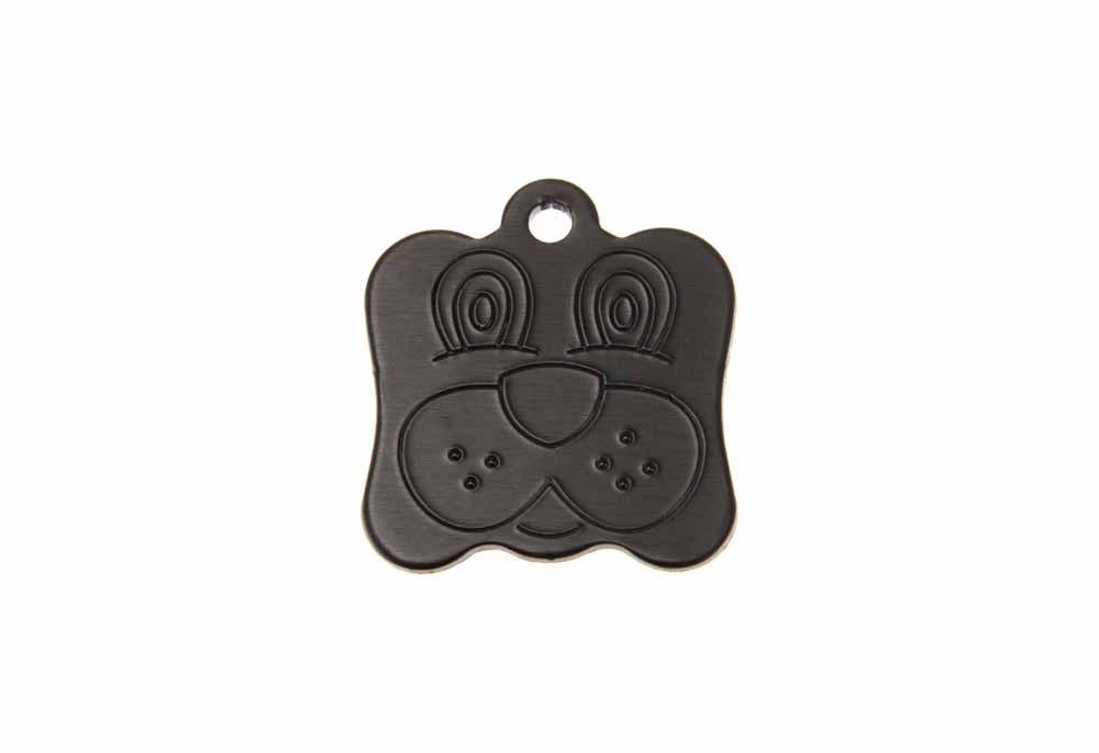 Médaille Tête de chien Noir 21x24mm