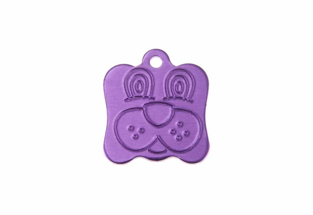 Médaille Tête de chien Violet 21x24 mm