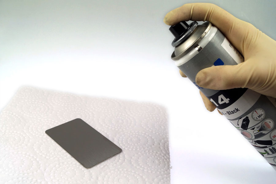 apply the marking spray or marking paste on the metal sheet