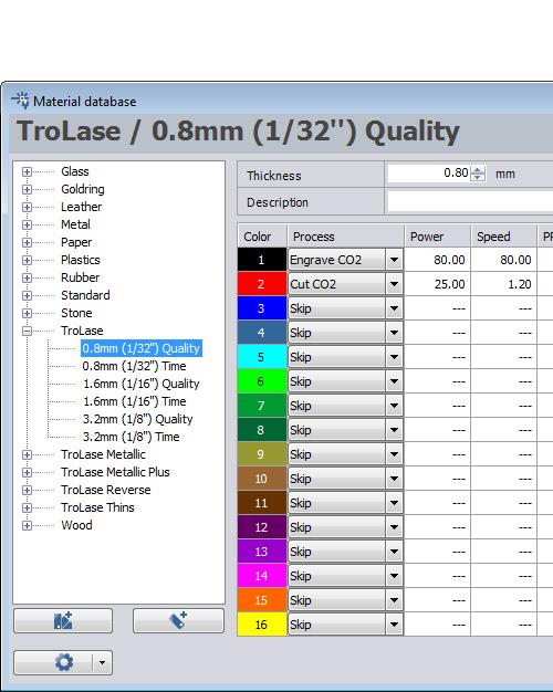 laser parameters for Trotec materials